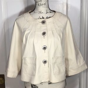 AMI M cotton jacket cropped swing w/ bell sleeve